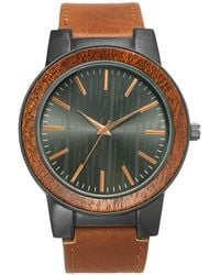INC International Concepts Brown Faux-leather Strap Watch 48mm, Created For Macy's