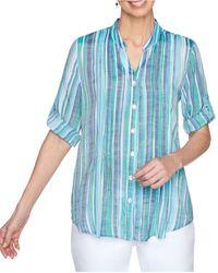 Ruby Rd. Petite Striped Utility Shirt - Blue
