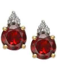 Macy's - Rhodolite Garnet (1-9/10 Ct. T.w.) & Diamond Accent Stud Earrings In 14k Gold - Lyst