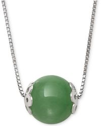 """Macy's - Dyed Jade (10mm) Bead 18"""" Pendant Necklace In Sterling Silver - Lyst"""