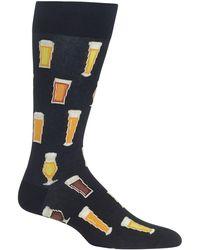 Hot Sox Socks, Printed Crew - Black