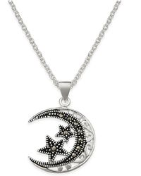 Macy's - Marcasite Filigree Moon And Stars Pendant Necklace In Silver-plate - Lyst