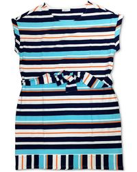 Charter Club Petite Striped Stretch Shift Dress, Created For Macy's - Blue
