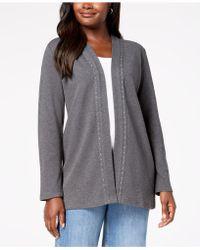 Karen Scott Cotton Studded Open-front Cardigan, Created For Macy's - Gray