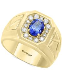 Effy Collection - Men's Tanzanite (1-1/8 Ct. T.w.) & Diamond (3/8 Ct. T.w.) Ring In 14k Gold - Lyst