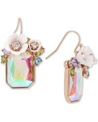 Betsey Johnson - Gold-tone Multi-stone Flower Drop Earrings - Lyst