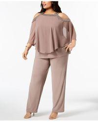 R & M Richards Plus Size Capelet Cold-shoulder Top & Pants Set - Multicolor