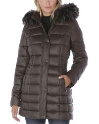 Laundry by Shelli Segal Faux-fur-trim Hooded Puffer Coat - Brown