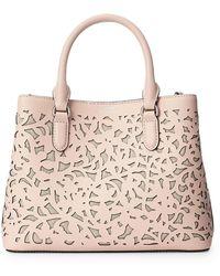 Lauren by Ralph Lauren Mini Marcy Ii Perforated Leather Satchel - Pink