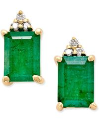 Macy's | Emerald (1-7/8 Ct. T.w.) And Diamond Accent Stud Earrings In 14k Gold | Lyst