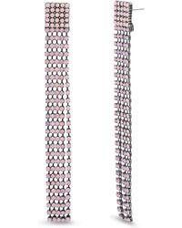 Steve Madden Pink Rhinestone Square Link Fringe Black-tone Earrings