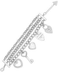 Guess - Triple-strand Pavé Charm Bracelet - Lyst