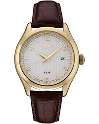 Seiko Men's Solar Essentials Brown Leather Strap Watch 42mm