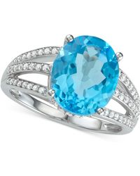 Macy's - Blue Topaz (5-1/8 Ct. T.w.) & Diamond (1/3 Ct .t.w.) Ring In 14k White Gold - Lyst