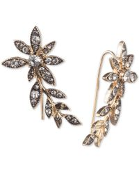 Jenny Packham Gold-tone Crystal Flower Ear Climber Earrings - Metallic
