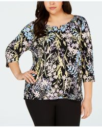 8d886b8f Calvin Klein Plus Size Color Block Tunic Top in Black - Save 43% - Lyst