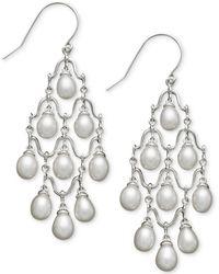 Macy's Cultured Freshwater Pearl Chandelier Earrings In Sterling Silver (6mm) - Multicolour