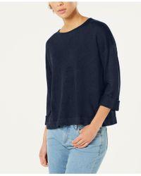 Eileen Fisher - Organic Linen 3/4-sleeve Jumper - Lyst
