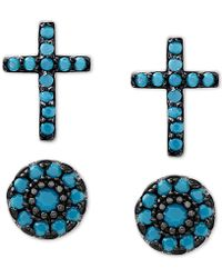 Macy's - 2-pc. Set Manufactured Turquoise Cross And Oval Stud Earrings In Sterling Silver - Lyst