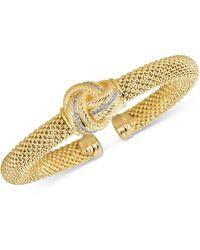 Macy's - Diamond Love Knot Mesh Bangle Bracelet (1/4 Ct. T.w.) In Gold-tone Sterling Silver Vermeil - Lyst