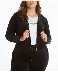 Juicy Couture Plus Size Velour Classic Hoodie Jacket - Black