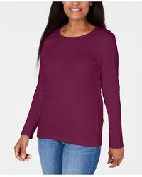 Karen Scott Satin-trim Scoop-neck Top, Created For Macy's - Purple