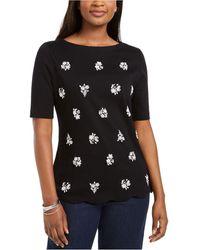 Karen Scott Printed Scalloped Cotton Top, Created For Macy's - Multicolour