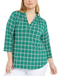Charter Club Plus Size Printed Pleated-neck Top, Created For Macy's - Green