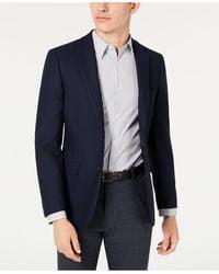 Calvin Klein Skinny-fit Stretch Textured Sport Coat - Blue
