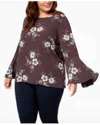 Soprano - Trendy Plus Size Bell-sleeve Blouse - Lyst