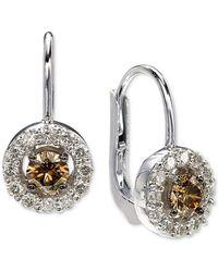 Le Vian ® Diamond Halo Drop Earrings (7/8 Ct. T.w.) In 14k White Gold - Metallic