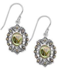 Macy's - Marcasite And Paua Shell Filigree Drop Earrings In Fine Silver Plate - Lyst