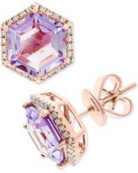 Effy Collection - Effy® Amethyst (3-3/8 Ct. T.w.) & Diamond (1/6 Ct. T.w.) Stud Earrings In 14k Rose Gold - Lyst