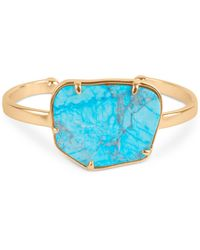 Lucky Brand - Gold-tone Turquoise-look Stone Cuff Bracelet - Lyst