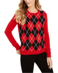 Charter Club Argyle Crewneck Jumper, Created For Macy's - Red