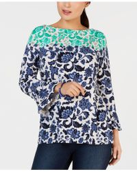 Charter Club - Petite Wallpaper-print Bell-sleeve Top, Created For Macy's - Lyst