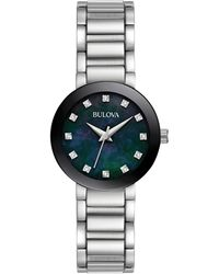 Bulova - Women's Diamond Accent Stainless Steel Bracelet Watch 26mm 96p172 - Lyst