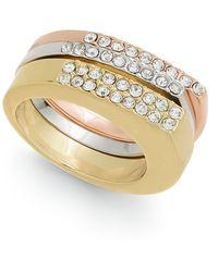 Alfani Tri-tone 3-pc. Set Pavé Stackable Rings, Created For Macy's - Multicolor