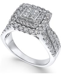 Macy's - Diamond Square Halo Engagement Ring (1-1/2 Ct. T.w.) In 14k White Gold - Lyst