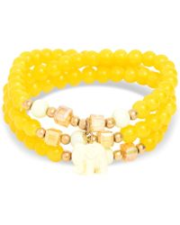 Zenzii Gold-tone Elephant Charm Beaded Multi-row Bracelet - Yellow