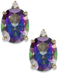Macy's - 14k Gold Mystic Topaz (7 Ct. T.w.) And Diamond Accent Oval Earrings - Lyst
