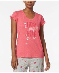 Hue - Light My Fire Graphic-print Ruffle-sleeve Pajama Top - Lyst