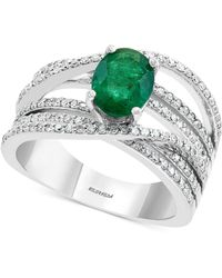 Effy Collection Effy® Diamond (1/2 Ct. T.w.) & Emerald (1-1/8 Ct. T.w.) Ring In 14k White Gold - Green