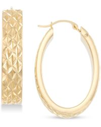 Signature Gold Diamond Accent Textured Oval Hoop Earrings In 14k Gold Over Resin, Created For Macy's - Metallic