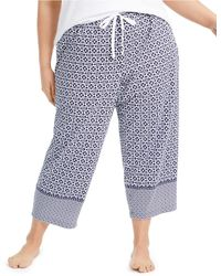 Charter Club Plus Size Cotton Knit Cropped Pyjama Pants, Created For Macy's - Blue