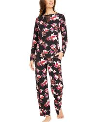 Sesoire Floral-printed Luxe Knit Pajama Set - Black