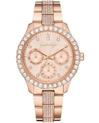 Kendall + Kylie Classic Rose Gold Tone Crystal Bezel Stainless Steel Strap Analog Watch 40mm - Pink