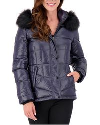 Vince Camuto High-shine Faux-fur-trim Hooded Puffer Coat, Created For Macy's - Blue