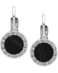 Nine West - Silver-tone Pavé & Stone Drop Earrings - Lyst