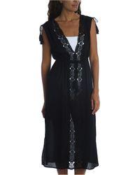 La Blanca Embroidered Island Fare Midi Cover-up Dress - Black